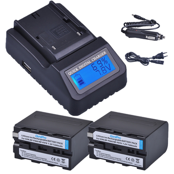 2pc 7200mAh NP-F960 NP-F970 NP F960 F970 Rechargeable Batteries + LCD Quick Charger for SONY HVR-HD1000 HVR-HD1000E HVR-V1J