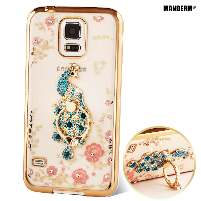 Luxury Rhinestone stand holder case cover For Samsung Galaxy S5 case Silicone I9600 TPU protective diamond for samsung S5 Case ...