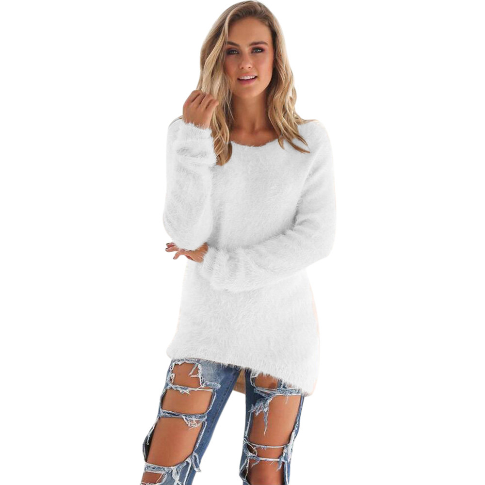 Casual Solid Color Plush Sweater 1