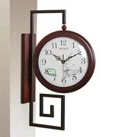 Большие Двухсторонние настенные часы в винтажном стиле, деревянные потертые шикарные современные настенные часы, домашний декор, Декор для