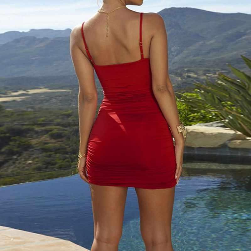 נשים שמלת מודלים פיצוץ סקסי נמוך חזה עמוק צווארון V מקפל קלע מוצק צבע תיק היפ שמלת רצועת שמלה
