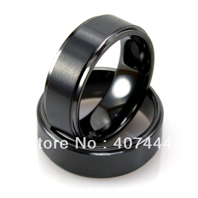 Free Shipping!Wholesales USA Hot Sales E&C Jewelry Mens Tungsten Black Ring With Edges & Brushed Ring His/Her Best Wedding Ring