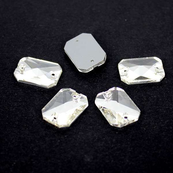 Free Shipping ~! Rectangle Shape Crystal Clear sew on buttons Silver base  glass stone 2holes.10x14mm 064601cfe8f5