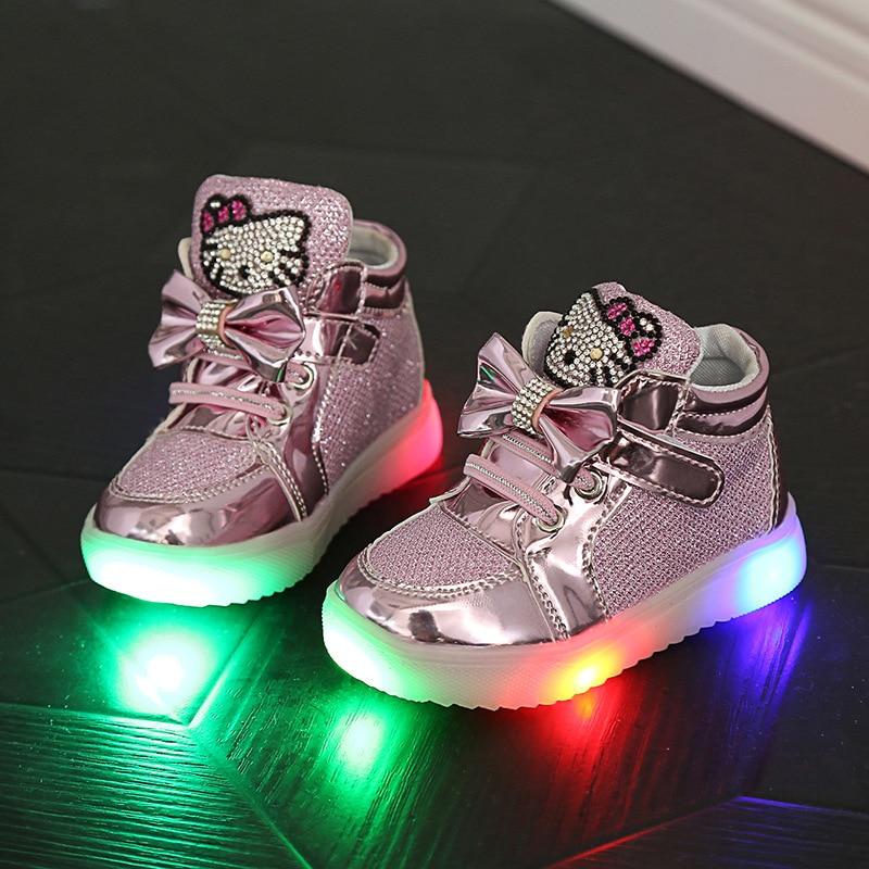 ФОТО Fashion 5 Colors Children Shoes New Spring Hello Kitty Rhinestone led shoes kids Girls Princess Cute Shoes With Light EU 21-36