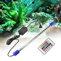 Multi color Aquarium LED Light Remote Controller Underwater Submersible Fish Tank Strip Bar Flood Light Tank Decoration 21 Inch