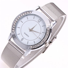 Hot Fashion Women Crystal Golden Stainless Steel Analog Quartz Wrist Watch Bracelet  Z601 5Down