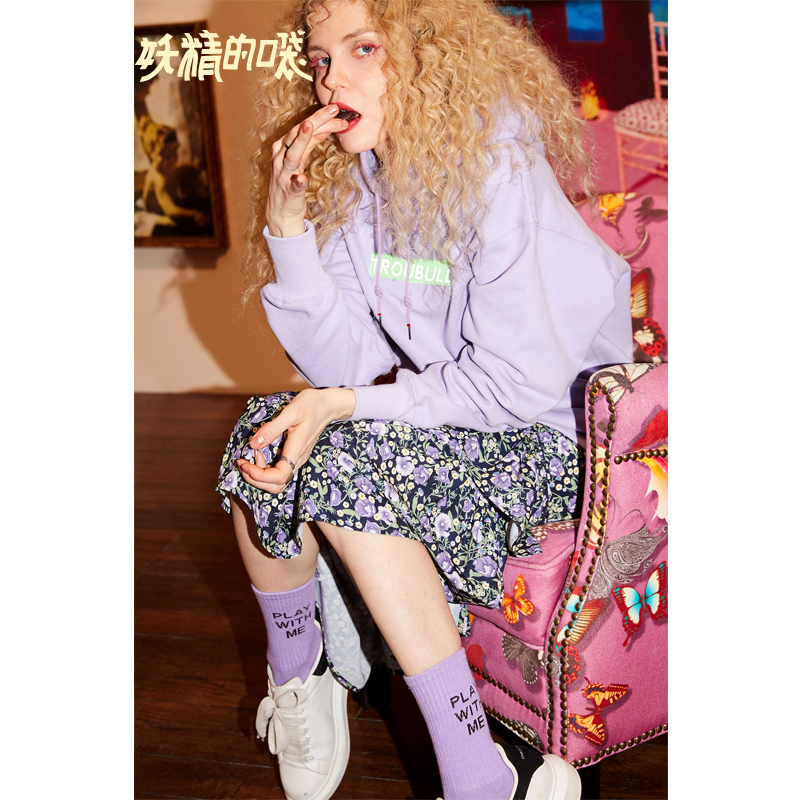 ELFSACK New Stylish Oversized Woman Sweatshirts Loose Casual Knitted Embroidery Hoodies Women Pulloveres Hiphop Femme Sudadera