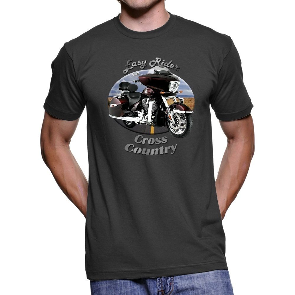 2018 Hot sale 100% cotton American Motorcycle Cross Country Easy Rider Mens T-Shirt Tee shirt