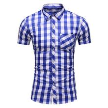 Luxury Plaid Shirt Men Lapel Collar Short sleeve Social Mens Shirts Summer Dress Blouse Lattice Check Design Green Blue