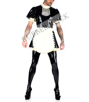 Latex Rubber Missy Maid Outfit Men's Latex Uniform Dress With Apon&Latex Leggings