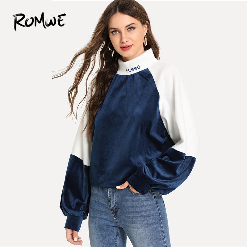 ROMWE Colorblock Bishop Sleeve Letter Embroidery Sweatshirt Women Clothes 2019 Autumn Womens Fashion Casual Sweatshirts Pullover
