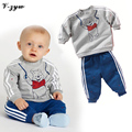 2017 Spring Baby Boy Girl Clothes Long Sleeve Top Pants 2pcs Sport Suit Baby Clothing Set Fashion Newborn Infant Clothing GZ102