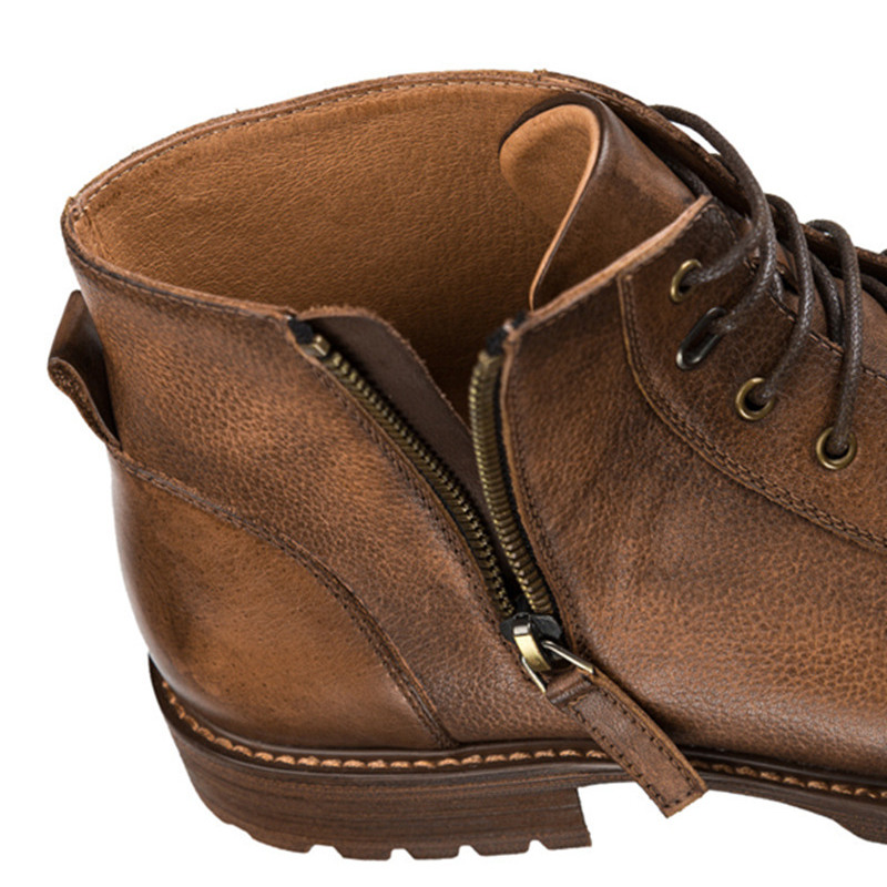 63112bd349 US $110.4 31% OFF|KRUSDAN Men Flats Military Boots Brown Handmade Genuine  Leather Ankle Boots Lace Up Wedding Shoes Men Fashion Martin Short Boots-in  ...