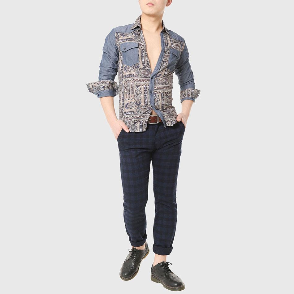 US $10.0 50% OFF Projektant mężczyźni etniczne koszule męskie Totem druku koszula praca z długim rękawem Patchwork Gothic fajne z kołnierzykiem