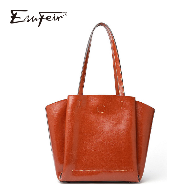 ESUFEIR 2018 Fashion Genuine Leather Women Bag European and American Style High Quality Women Shoulder Bag Casual Women Tote lauwoo women luxury brand tote bag high quality ladies casual tote bag girls vouge european and american style tote bag
