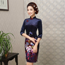Middle Sleeve Velvet Women Chinese Traditional Dress Embroidery Female Cheongsam Dress Short Qipao for Evening Party Dress 89