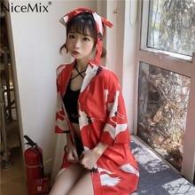 NiceMix Harajuku Japanese Kimono Cardigan Vintage Novelty SummerChiffon Sun Protection Women Clothing Traditiona