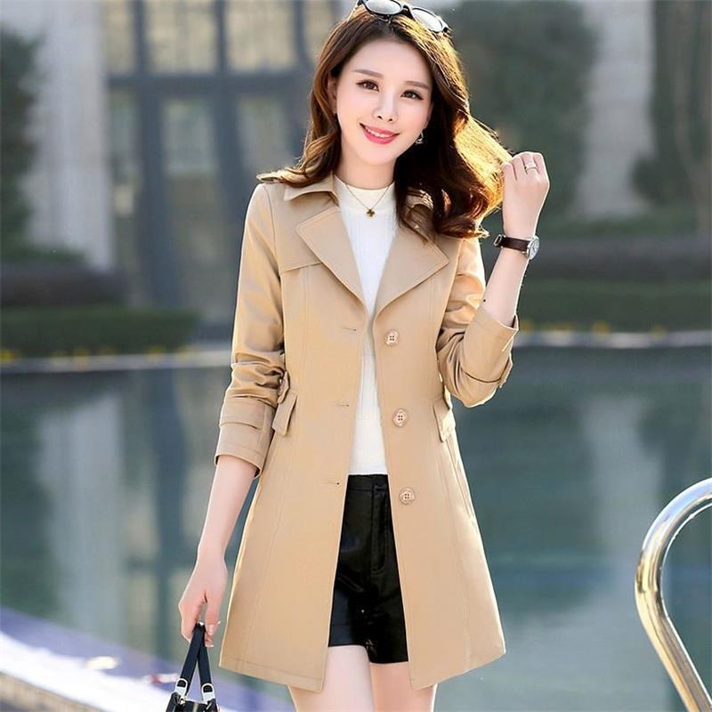 HLMFS women office ladies wear   trench   coat long women pink outwear overcoat female long sleeve lapel slim classic blue outwear