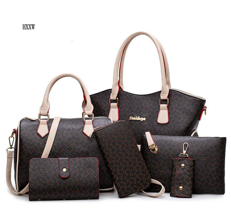 2017 New Women bag Leather Handbags Fashion Shoulder Bags Female Purse High Quality Six Piece Set