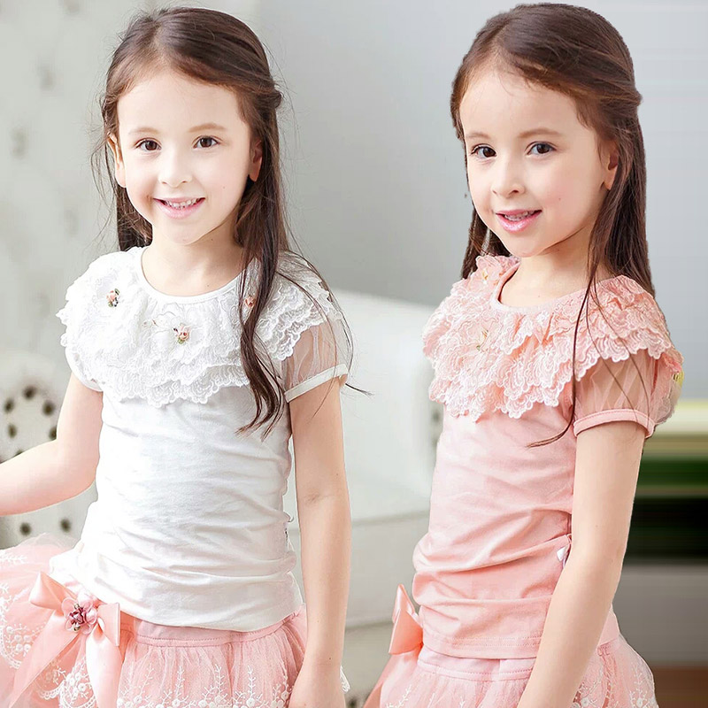Girls T-shirts Summer Clothes short sleeves 2017 new fashion cotton princess round neck lace Tee blouse shirt girl 6 7 8 10 12Y цены онлайн