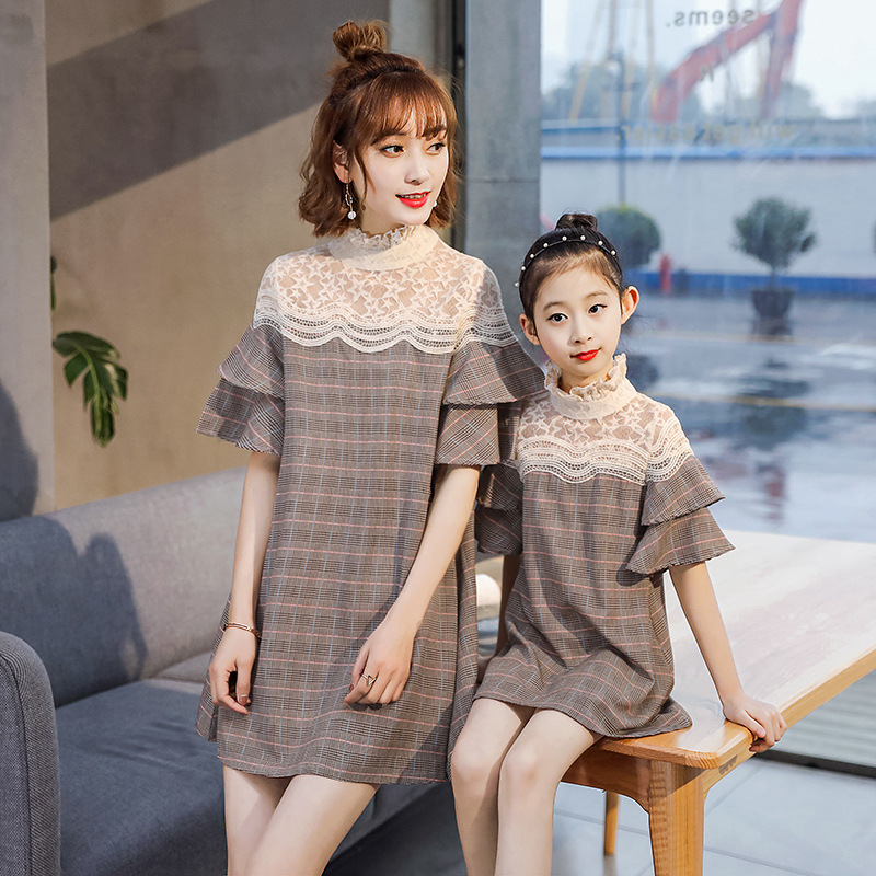 Mother Daughter Dresses Family Matching Outfits Lace Plaid Family Look Matching Clothes Mom And Daughter Dress Drop Shipping mother daughter dresses family matching outfits lace plaid family look matching clothes mom and daughter dress drop shipping