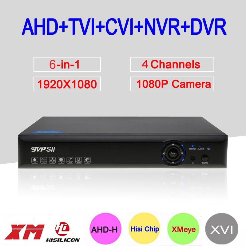 2MP Surveillance Camera Blue-Ray Hi3520D 6 in 1 XMeye 4CH 4 Channel 1080P Hybrid WIFI XVI NVR TVI CVI AHD CCTV DVR Free Shipping