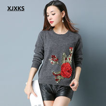 XJXKS Women Sweaters and pullovers Round Neck Appliques Flower Cashmere Fashion Design Korea style Jumper sweater 618(China)