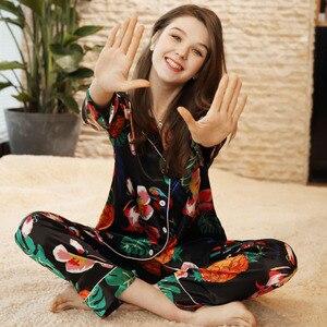 Image 2 - Sexy Silk Satin Pajama 2PCS Set XXL For Women Tropical Print Sleepwear Long Sleeve Trouser Summer Spring Pajama Set Nightwear