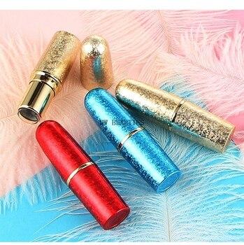 300 unids/lote tubo de lápiz labial vacío de alta calidad rojo y azul dorado, botella rellenable de Envase de bálsamo de labio vacía con forma de bala