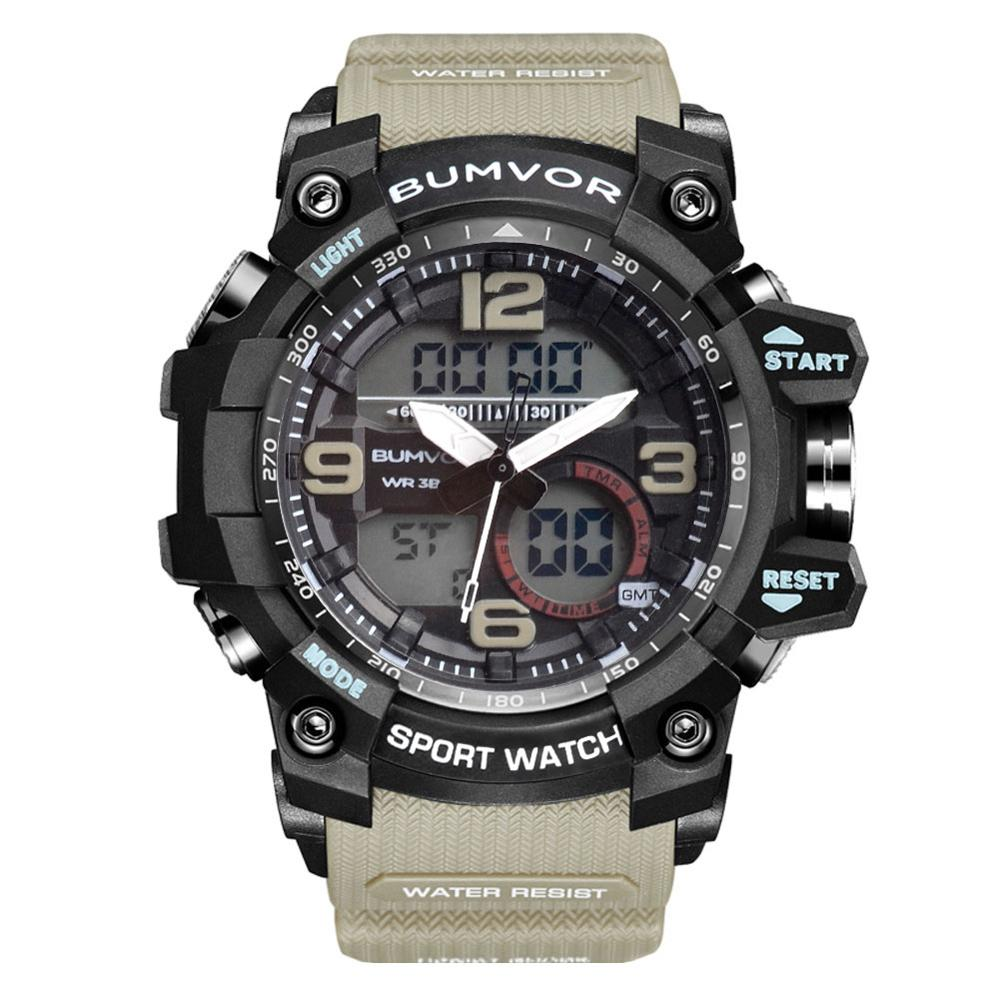 BUMVOR Brand Men Sport Watches Dual Display Analog Digital LED Electronic Quartz Wristwatches Waterproof Swimming Military Watch