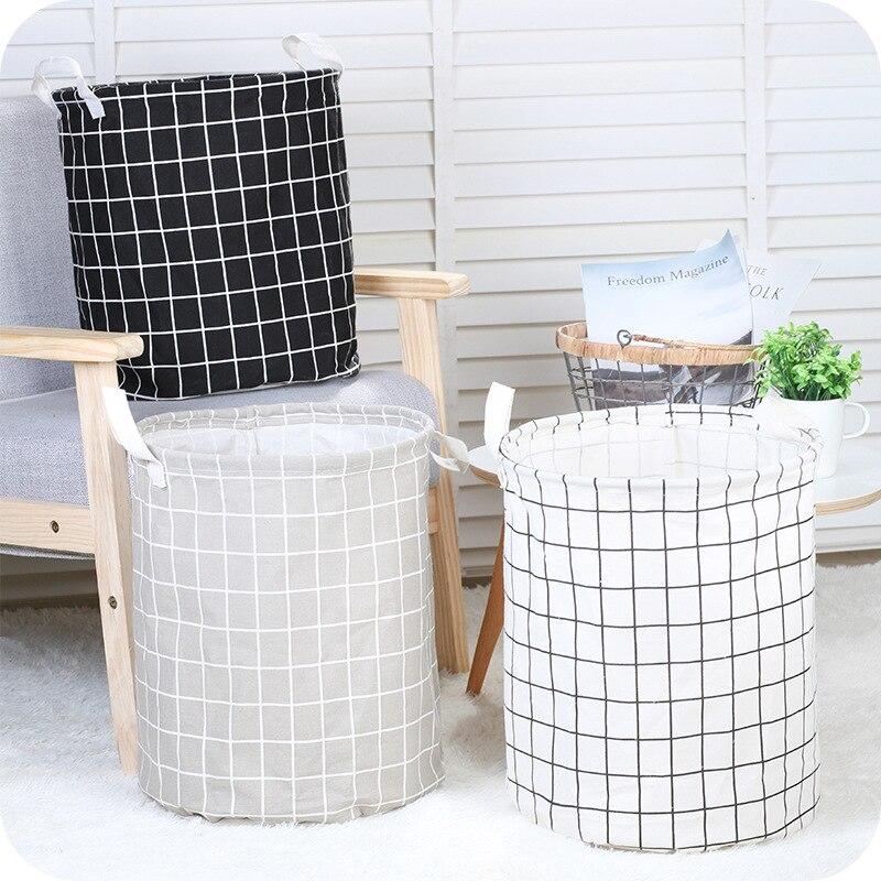 Schwarz Weiß Grau Faltbare Wasserdichte Baumwolle Leinen Wäsche Korb  Schmutzige Kleidung Spielzeug Kleinigkeiten Lagerung Korb Bad Eimer Hause