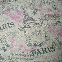 b595fb52f4 50x150 cm Tela del Tessuto di Cotone FAI DA TE Materiale di Stampa Viola  Rosa Farfalla Rosa Fiore Nero Torre Eiffel F514
