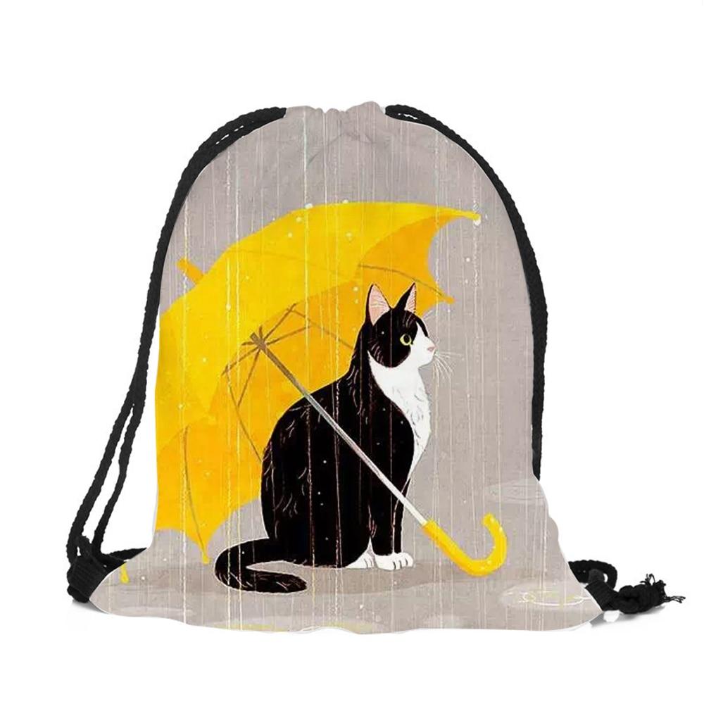 Cute Cartoon Cat Printed Fashion School Drawstring backpack Bag Shoe Backpack women drawstring bags bolsa cordones mochilaCute Cartoon Cat Printed Fashion School Drawstring backpack Bag Shoe Backpack women drawstring bags bolsa cordones mochila