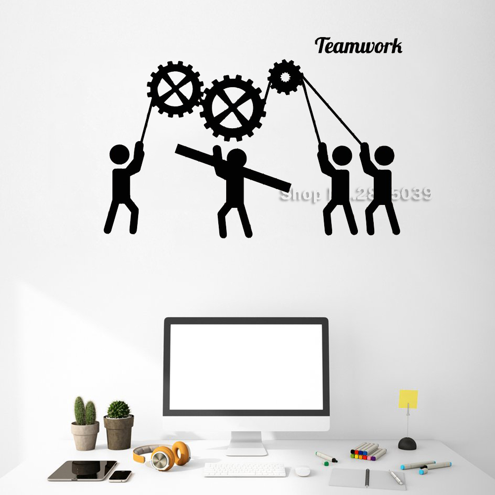 Creativity Teamwork Gears Wall Decals Office Decor Unique Stickers Commerce Room Wall Sticker Interior Art Wallpapers Hot LC517