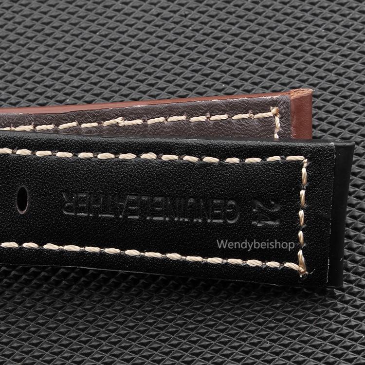 CARLYWET 22 24 26mm Schwarz Braun Echtes Leder Handgemacht Dickes - Uhrenzubehör - Foto 2