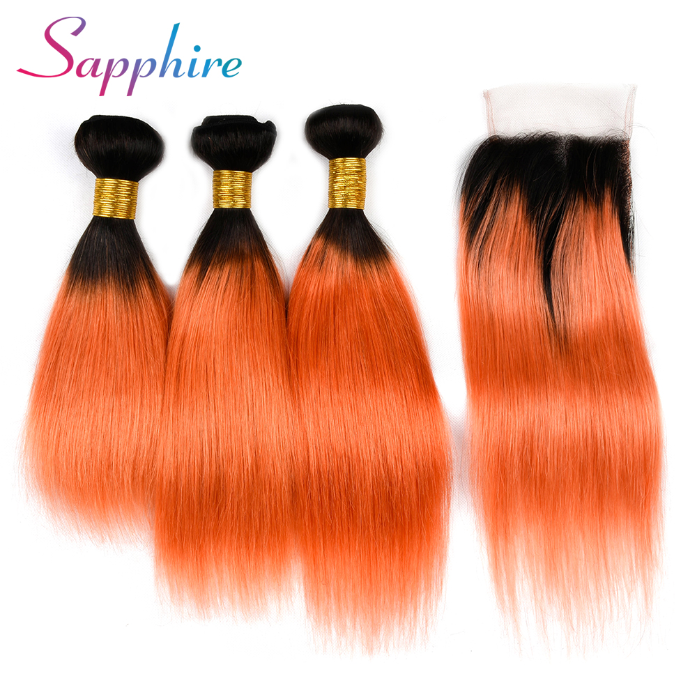 Sapphire Hair Pre-colored One Pack 3 Bundles Human Hair Weave with Closure Tb/Orange Color Human Hair Bundles With Closure