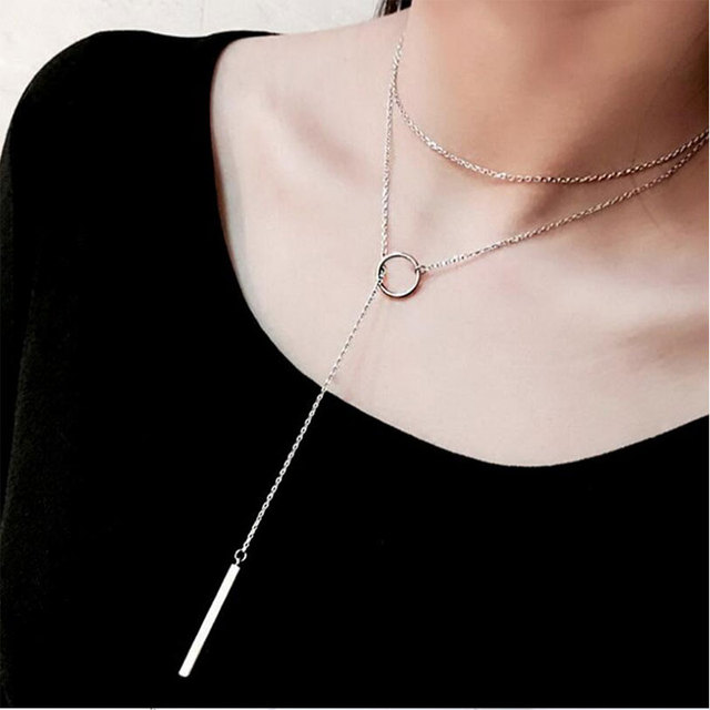 925 Sterling Silver Jewelry Circle Strip Long Chain Necklace Choker 2