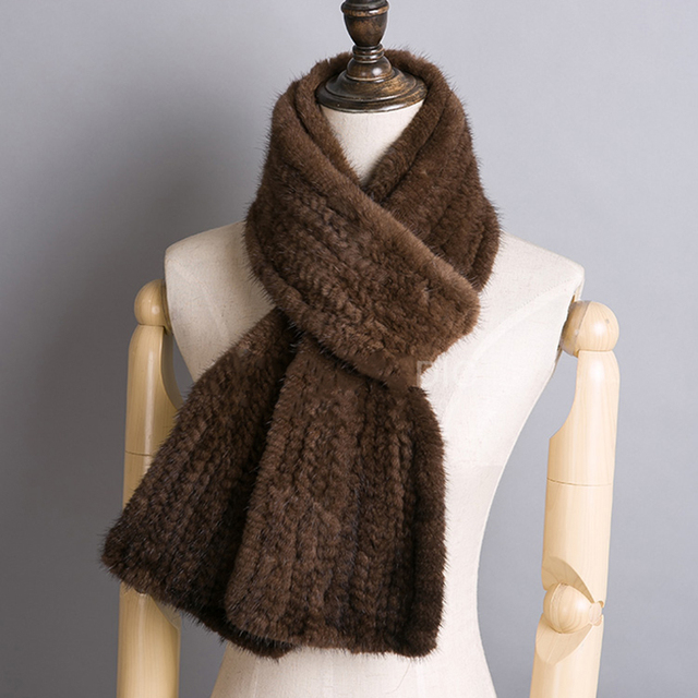 CDS078 2017 Fashion warm long knitted mink fur scarf women with flower in winter