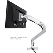 """Bestand Monitor Arm Mount Gas Spring Aluminum Desk Stand for Single LCD Display Screen 10""""-27"""", VESA 75x75 and 100x100, Silver(China (Mainland))"""