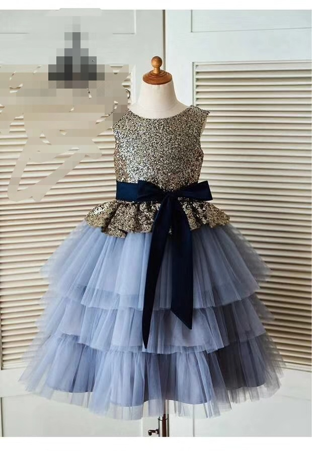2018 Children Full Dress Sleeveless Princess Girl Dress Thick And Yarn Floret Child LaceDress Host Birthday Flower Girls Dresses