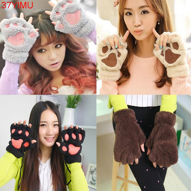 1Pair Unique Cute Soft Warm Winter Paw Gloves Fingerless Fluffy Bear Plush Paw WOMEN ACCESSORIES