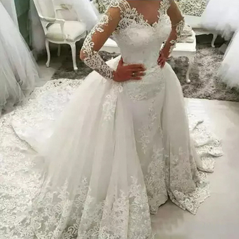 CRYSTAL JIANG 2020 New Lace Ball Gown Wedding Dresses Plus size wedding dresses Sexy Backless lace Long sleeves