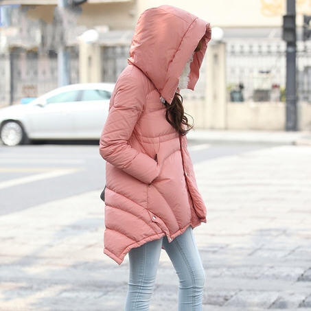 S-XL New 2013 Winter Fashion Brand Designer Women Plus Size Medium Long White Duck Down Fur Hooded Jacket Free Shipping D1522