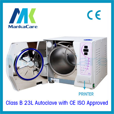 23L Autoclave with Printer Europe B class Dental Sterilizer Medical Surgical Vacuum Steam Disinfection Cabinet FREE DHL FEDEX 12l class n autoclave medical dental autoclave sterilizer dental clinic or lab instruments disinfection cabinet lcd