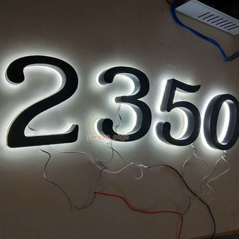 Custom Outdoor stainless steel led backlit house numbers