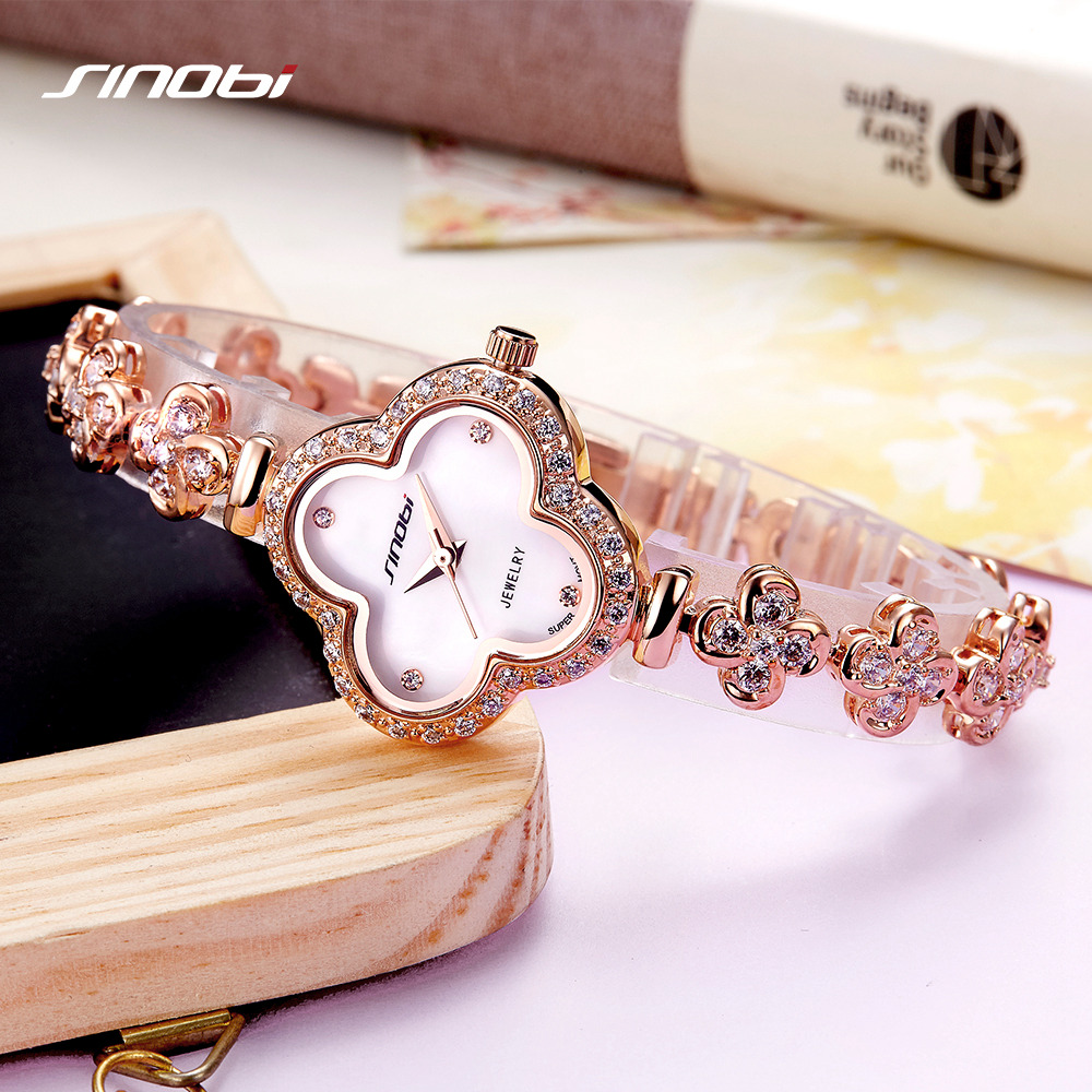 SINOBI Women High End Four Leaf Clover Shape Quartz Wristwatch Top Luxury Brand Noble Ladies Jewelry Watch Relogio Feminino