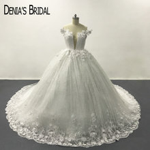 White Deep V-Neck Lace Backless Ball Gown Wedding Dresses Off the Shoulder Flowers Chapel Train Long Bridal Gowns