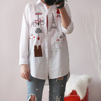 cd50e297a614c5 2019 New Autumn Women Blouse Cute Cotton White Shirts Bottoming Long  Sleeves Cartoon Ladies Casual Blouse