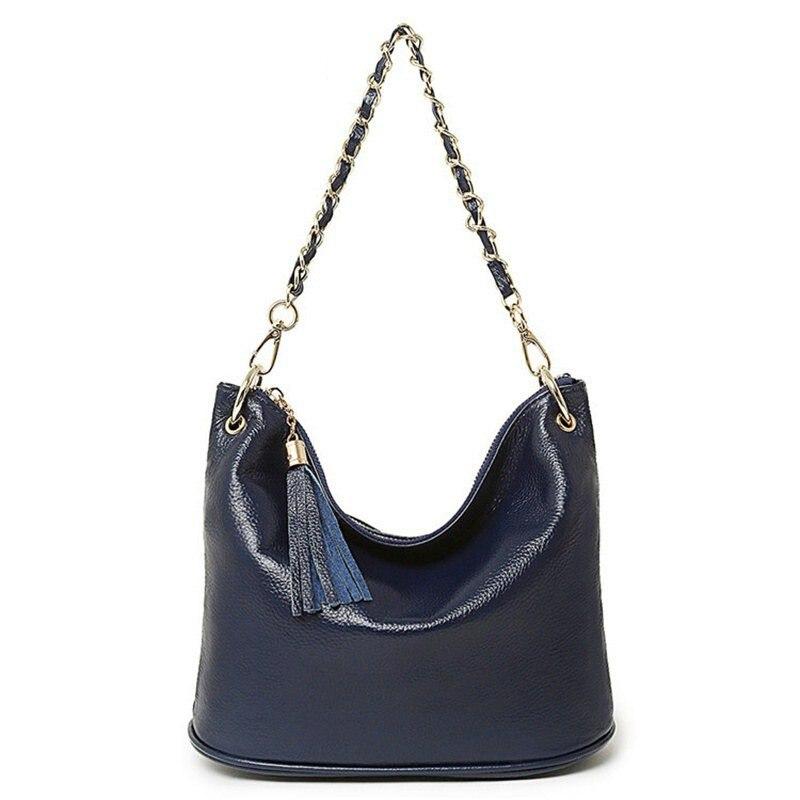 New 2017 Medium Causal Bags Big Chain Strap Genuine Leather Handbag Shoulder Tassel Cross Body Women Bag