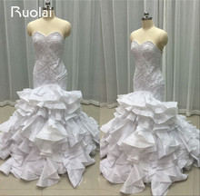 Real Image Luxury Mermaid Wedding Dresses Sweetheart Beaded Bodice Bridal Gown Tiered Ruffles Bottom Wedding Gown 2016  FW20